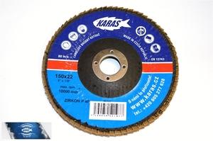 Lamelový brusný kotouč KARAS zirkonkorund 150 x 22,2 mm zrno 40 MG ST