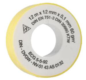 Těsnící teflonová páska 12 m × 12 mm × 0,1 mm, 60 g/m²