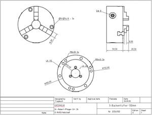3-čelisťové sklíčidlo 125 mm pro RT 150