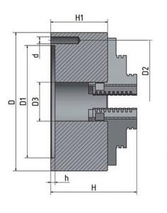 3-čelisťové sklíčidlo s centrickým upínáním Ø 125 mm