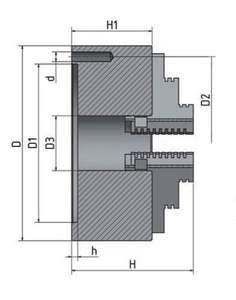 4-čelisťové sklíčidlo s nezávisle stavitelnými čelistmi ø 125 mm
